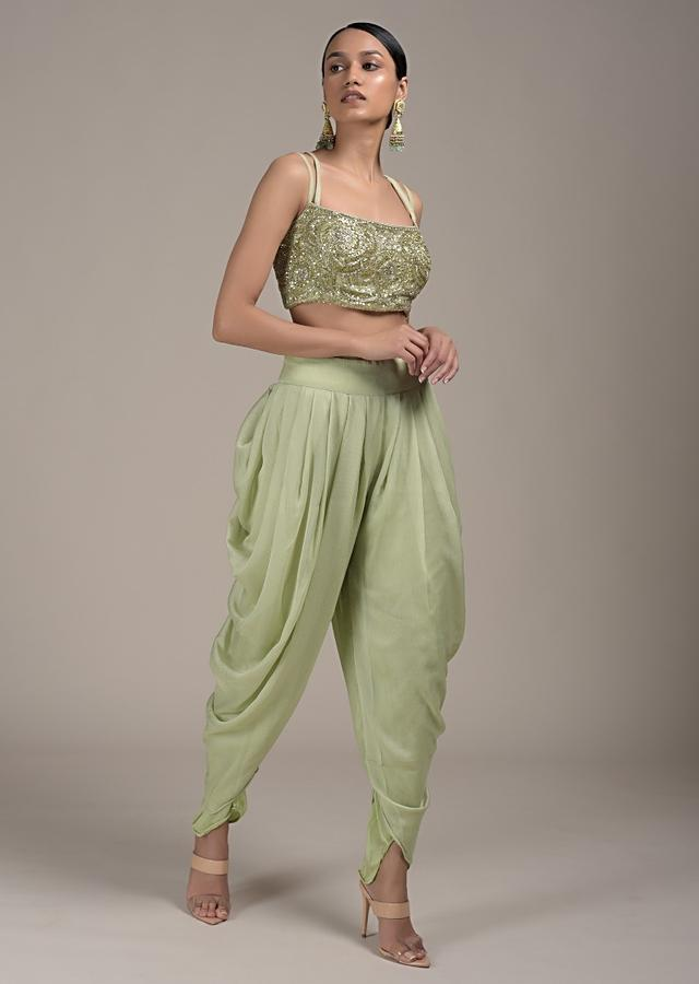 Pastel Green Dhoti And Crop Top Suit In Chiffon With Long Sleeves Sequins Embellished Jacket Online - Kalki Fashion