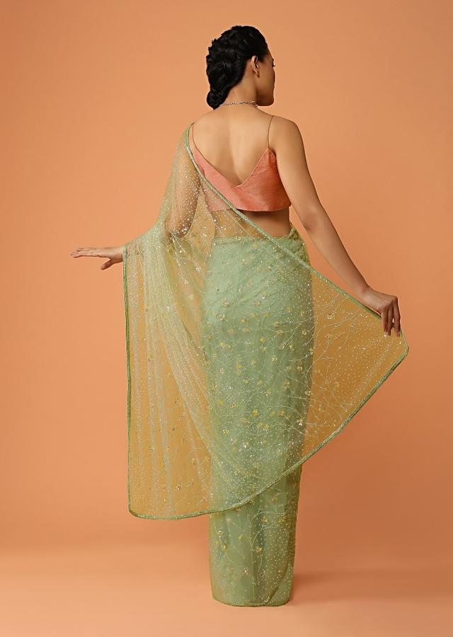 Pastel Green Saree In Net With Sequins And Cut Dana Embroidered Floral Jaal Design Online - Kalki Fashion