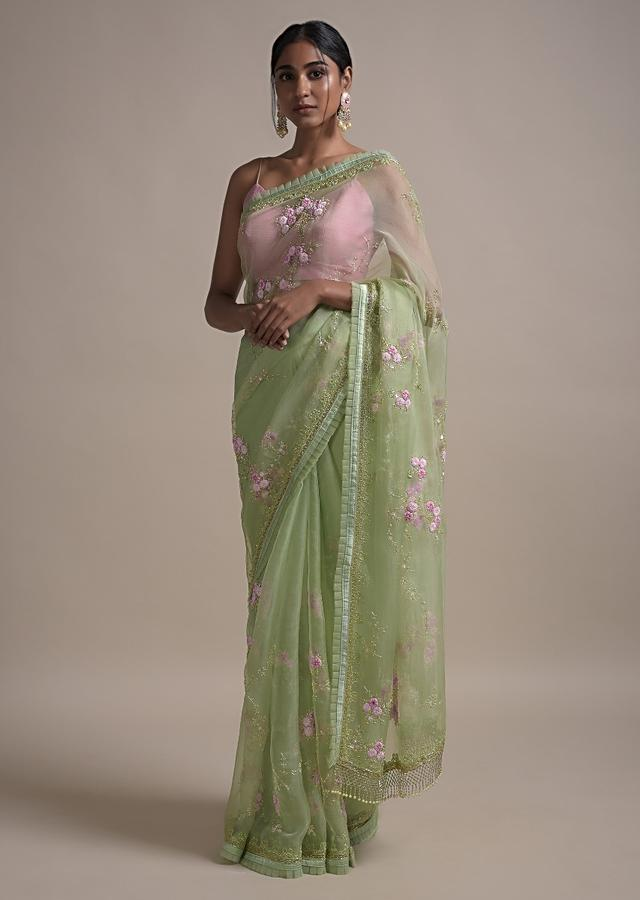 Pastel Green Saree In Organza Adorned With Thread And Pearls Embellished Floral Pattern Online - Kalki Fashion