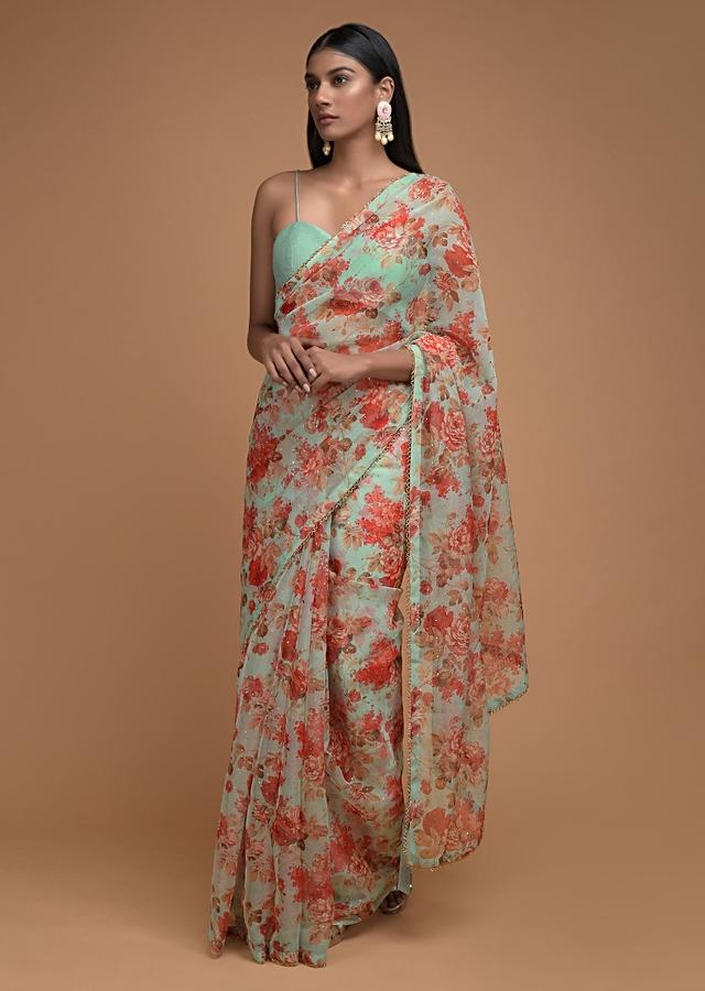 Pastel Green Saree In Organza With Floral Print And Cut Dana Trim On The Border Online - Kalki Fashion