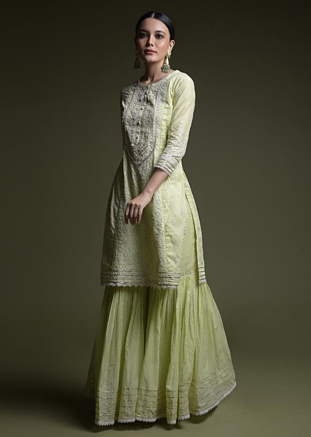 Pastel Green Sharara Suit In Cotton With Thread Cut Work Embroidered Floral Jaal And Mirror Abla Work Online - Kalki Fashion