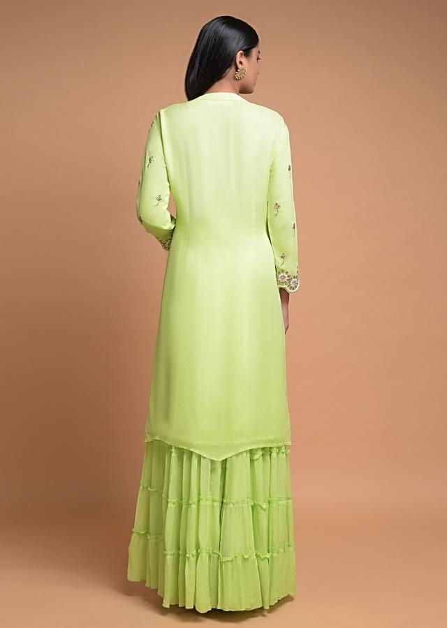 Pastel Green Sharara Suit In Georgette With Embroidered Round Motif On The Yoke Online - Kalki Fashion