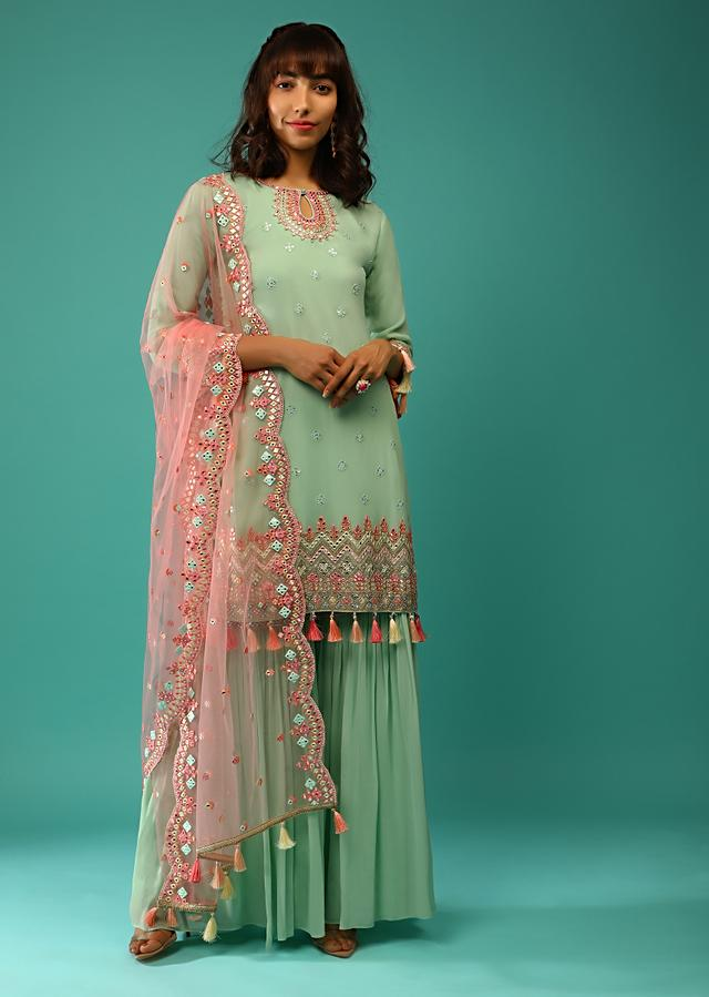 Pastel Green Sharara Suit In Georgette With Sequins Embroidered Buttis And Multi Colored Mirror Abla And Tassel Details Online - Kalki Fashion