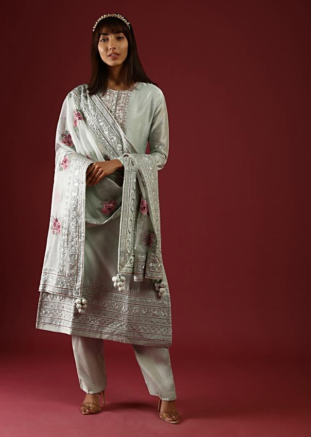 Pastel Green Straight Cut Suit With Zardosi Work On The Yoke And An Organza Dupatta With Multi Colored Thread Embroidered Floral Motifs Online - Kalki Fashion