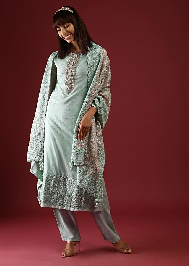 Pastel Green Straight Cut Suit With Zardosi Work On The Yoke And An Organza Dupatta With Multicolor Thread Work In Paisley And Floral Jaal Online - Kalki Fashion