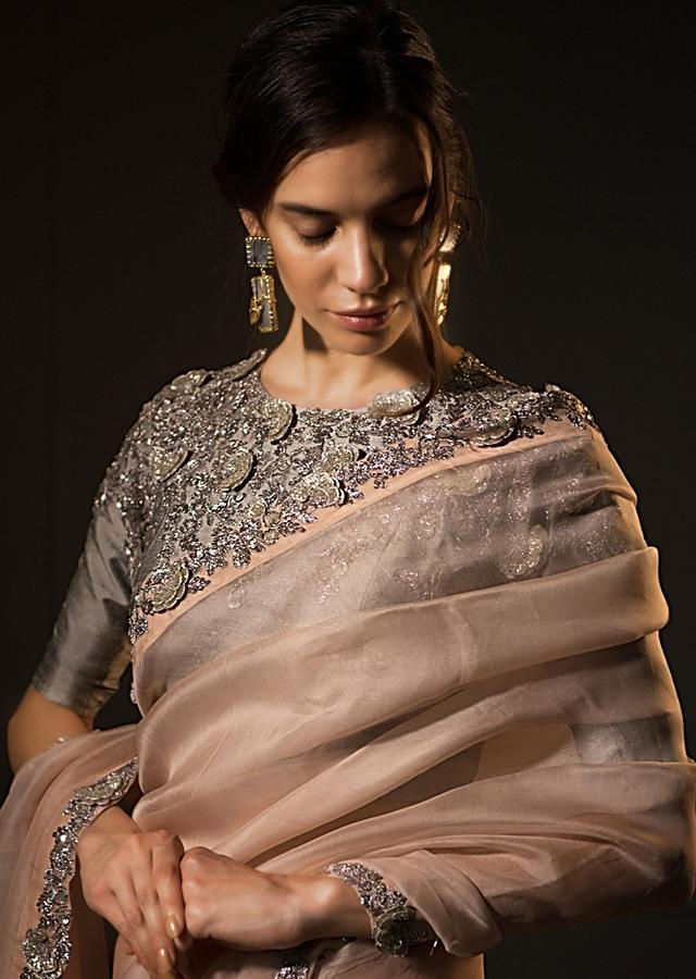 Pastel Peach Saree In Organza With Contrasting Grey Blouse Online - Kalki Fashion
