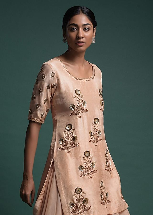 Pastel Peach Palazzo Suit In Cotton Silk With Thread And Sequins Embroidery In Floral Motifs Online - Kalki Fashion