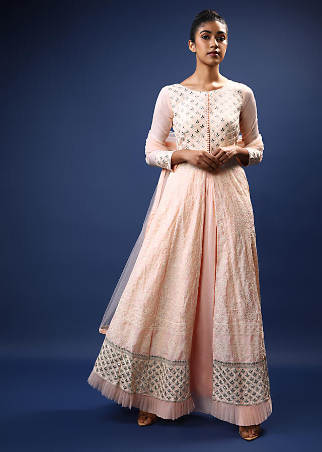 Pastel Peach Palazzo Suit In Georgette With A Long Slit Kurti Adorned In Lucknowi Thread Embroidery And Foil Applique Accents Online - Kalki Fashion