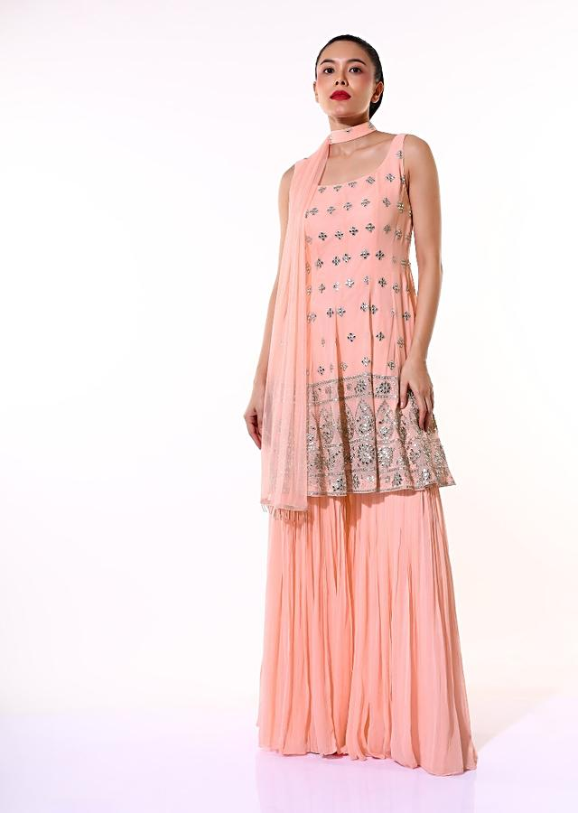 Pastel Peach Sharara Suit In Georgette With Zari And Abla Embroidered Elaborate Border And Butti Work Online - Kalki Fashion