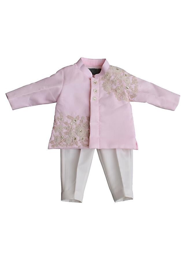 Pastel Pink Bandh Gala With Zari Embroidery And Off White Pants By Fayon Kids