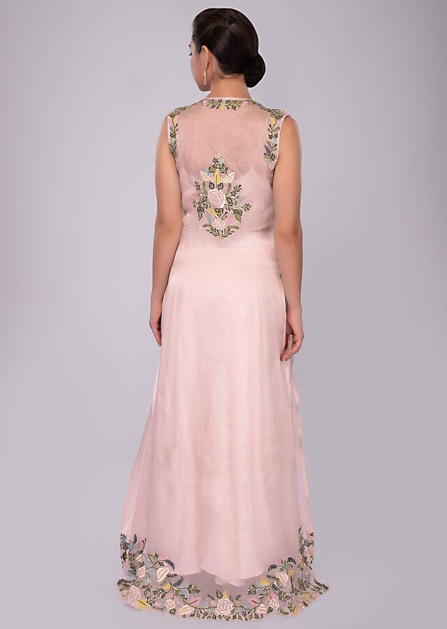 Pastel pink cowled pant and crop top with  floral embroidered organza jacket only on Kalki