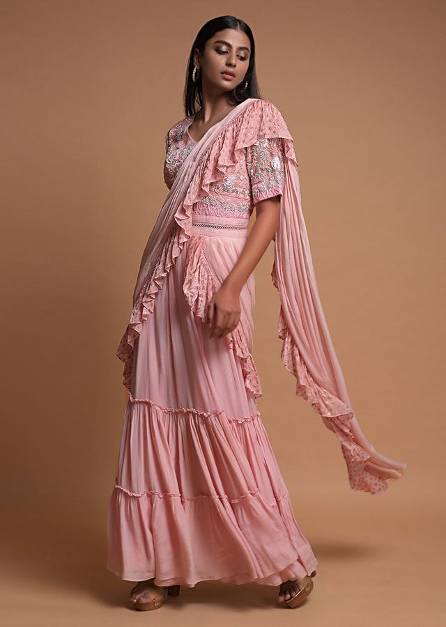 Pastel Pink Indowestern Gown In Crepe With Tiered Hemline Attached Ruffle Drape Online - Kalki Fashion