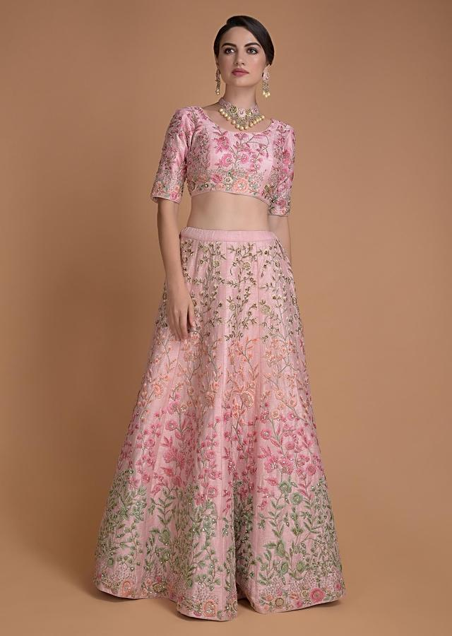 Pastel Pink Lehenga Choli With Embroidered Floral Jaal Pattern Online - Kalki Fashion