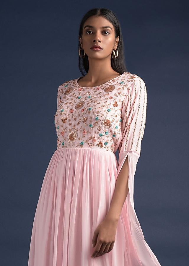 Pastel Pink Long Dress With Extended Floor Length Sleeves And Floral Embroidery Online - Kalki Fashion