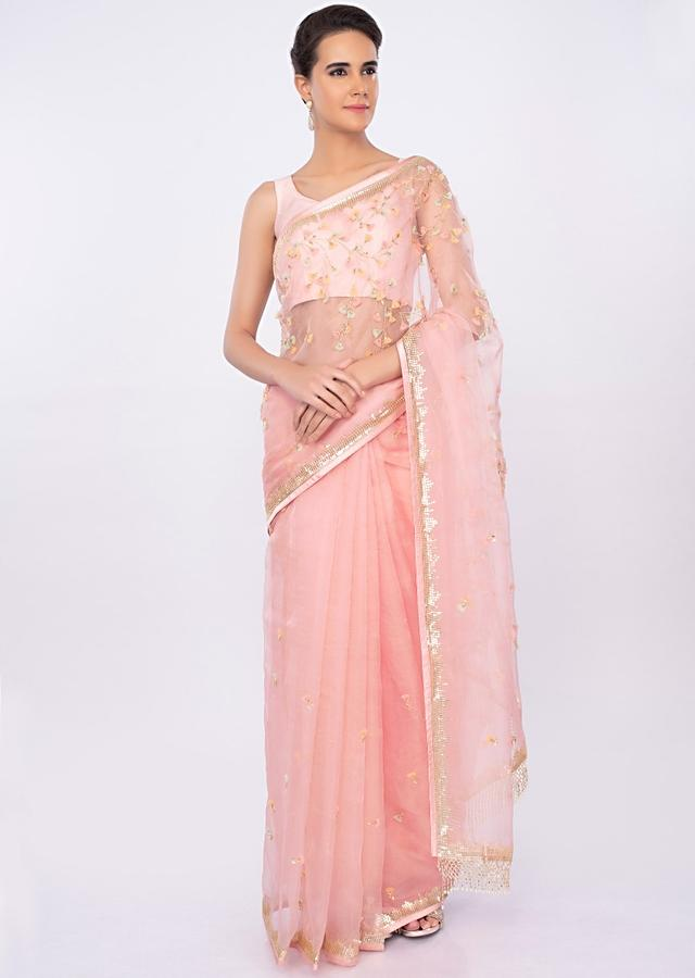 Pastel pink organza saree with butti and border only on kalki