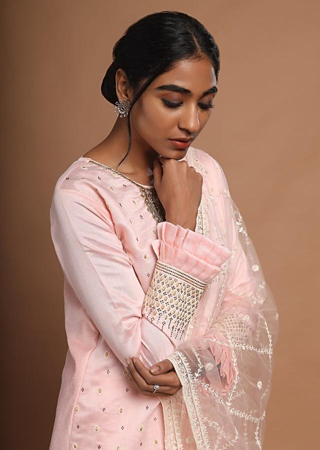 Pastel Pink Palazzo Suit With Thread Buttis And Double Layer Frill On The Sleeves Online - Kalki Fashion