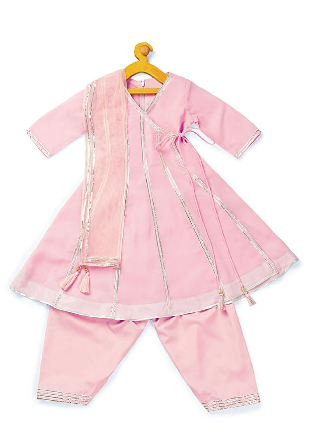 Pastel Pink Patiala Suit With A Flared Kurti Adorned In Lace By Mini Chic