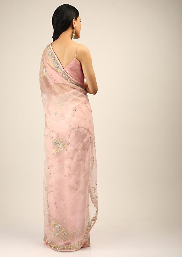 Pastel Pink Saree In Organza With Multi Colored Applique Flowers On The Border And Cut Dana Accents Online - Kalki Fashion