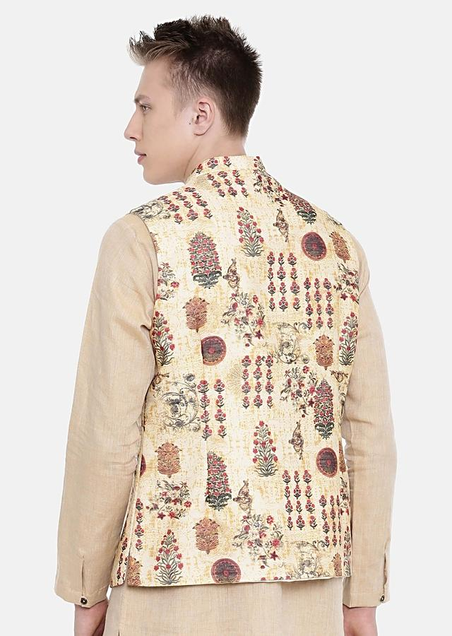 Pastel Yellow Nehru Jacket In Chanderi With Floral Print All Over By Mayank Modi