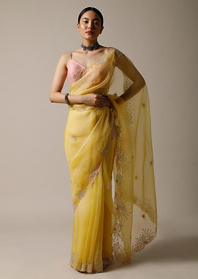 Pastel Yellow Saree In Organza With Beads And Sequins Embroidered Floral Design Along With Unstitched Blouse Online - Kalki Fashion
