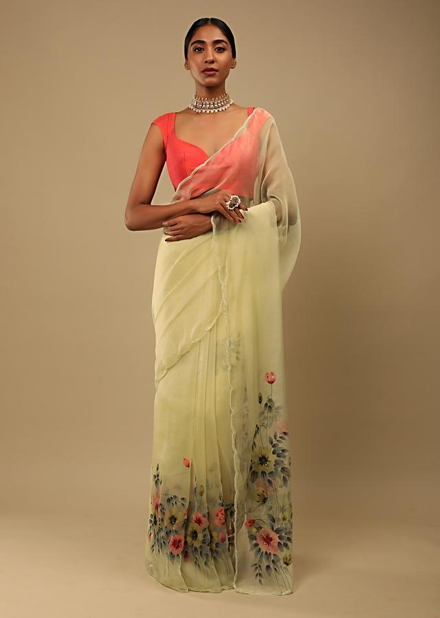 Pastel Yellow Saree In Organza With Floral Print On The Border And Pallu Along With Sequin Highlights Online - Kalki Fashion