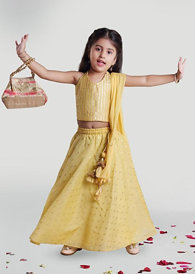 Pastel Yellow Skirt And Choli In Chanderi Fabric With Printed Buttis And Gotta Lace On The Choli By Mini Chic