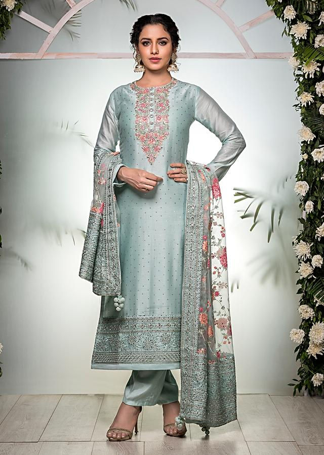 Pastel Green Straight Cut Suit With Multi Colored Thread Embroidered Floral Motifs On The Yoke And Organza Dupatta Online - Kalki Fashion