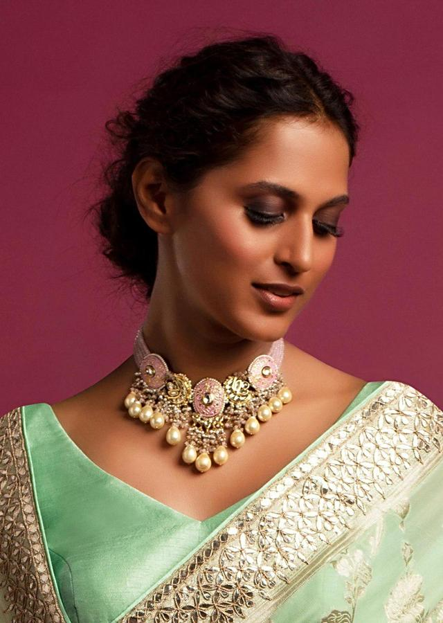 Pastel Pink Choker Necklace With Mina Work And Dangling Pearls And Beads Kohar By Kanika