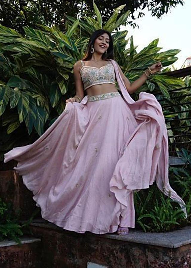 Pastel Pink Lehenga Choli With Floral Embroidery And Attached Drape Dupatta Online - Kalki Fashion