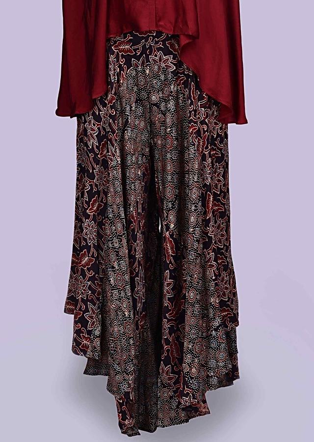 Patola printed black flared palazzo with contrasting wine satin top only on Kalki