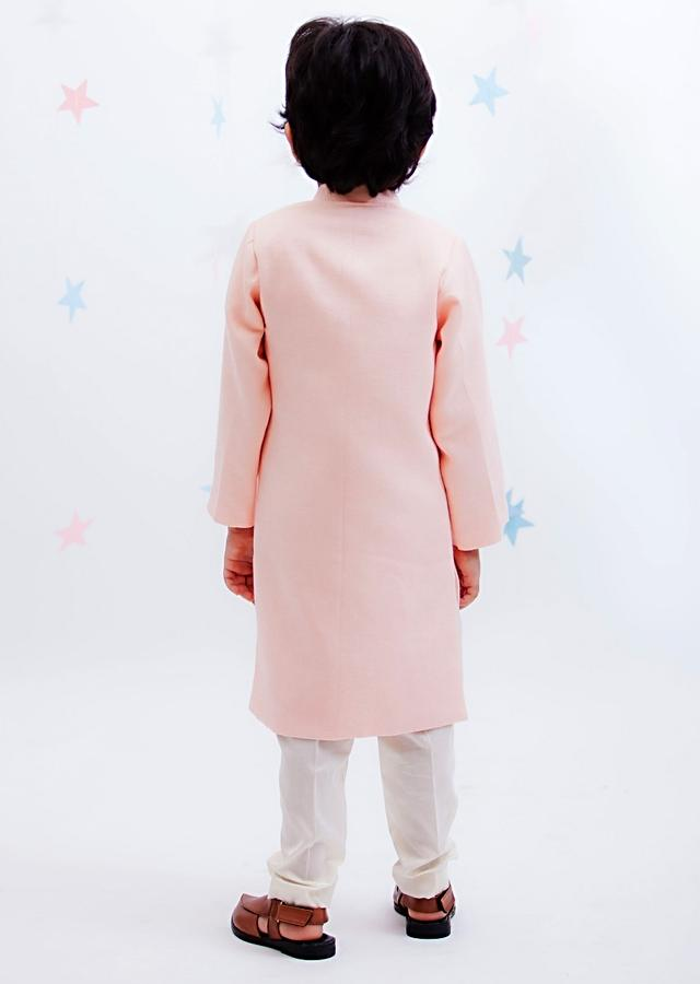 Peach Ajkan With Asymmetric Cut Hemline and Off White Pants By Fayon Kids