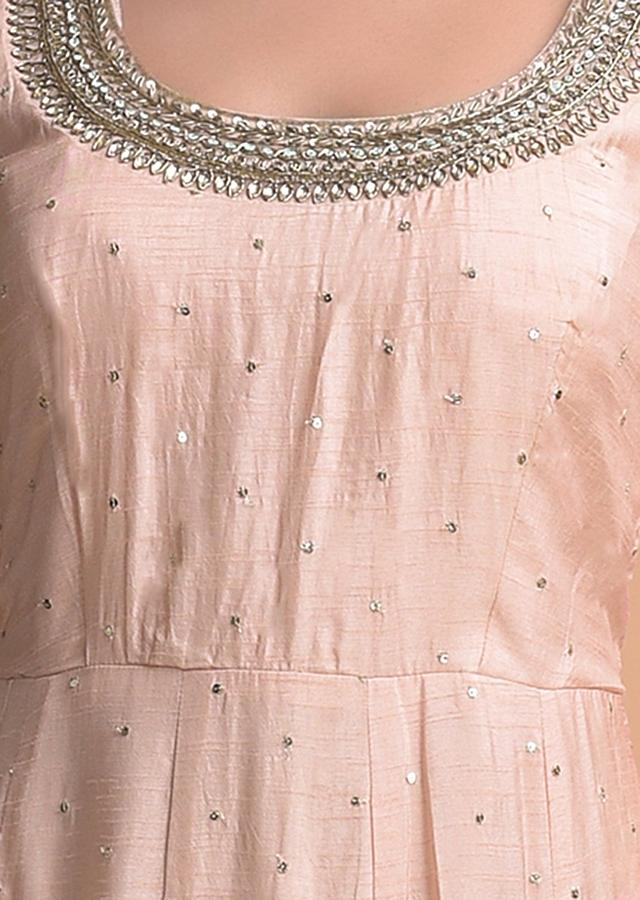 Peach Anarkali Suit In Silk With Sequins And Zari Buttis All Over Online - Kalki Fashion