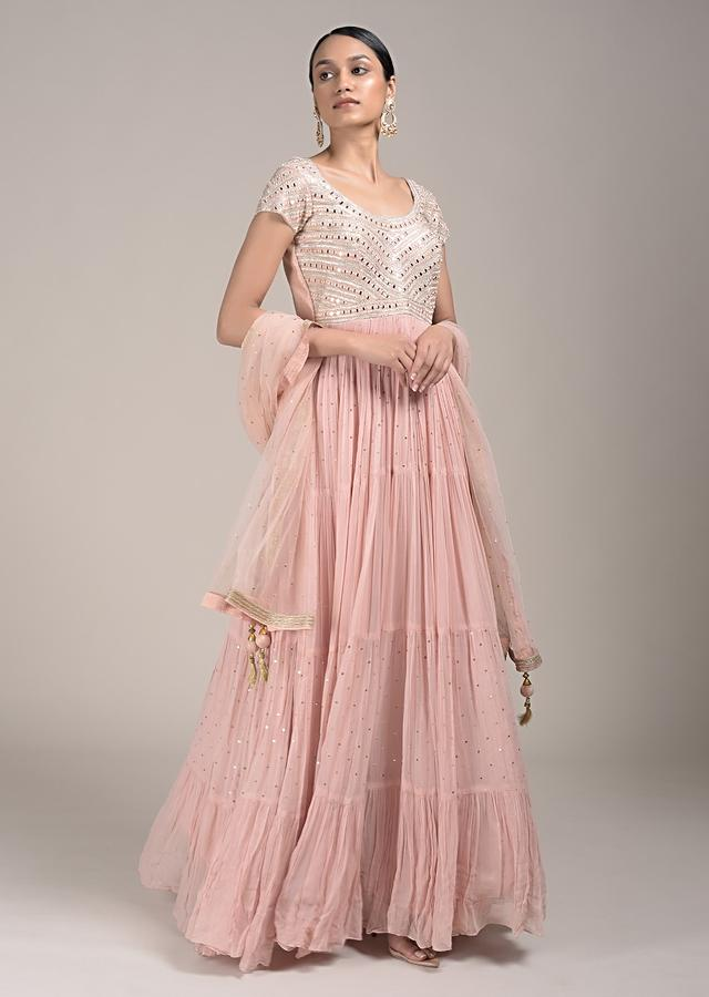 Peach Anarkali Suit In Georgette With Abla And Sequins Work Online - Kalki Fashion