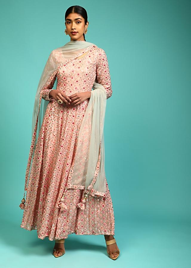 Peach Anarkali Suit In Georgette With Full Sleeves And Multi Color Resham And Abla Work All Over Online - Kalki Fashion