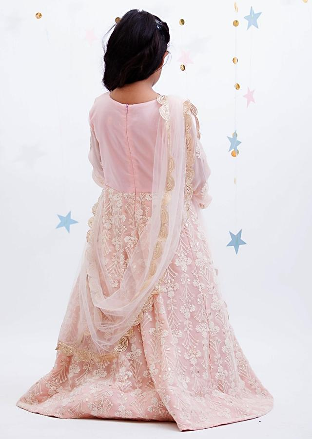 Peach Anarkali Suit With Lucknowi Work And Attached Jacket Pattern By Fayon Kids