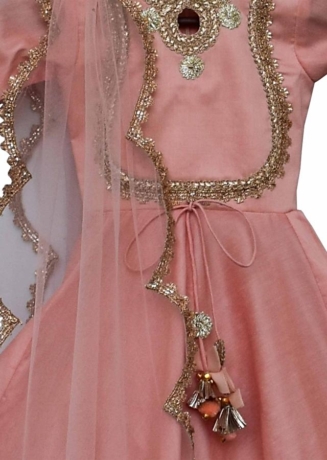 Peach Anarkali Suit With Zari Lace Embroidery By Fayon Kids