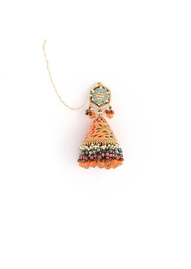 Peach And Blue Jhumkas With Hand Painted Enamelling And Multi Colored Bead Fringes By Kohar