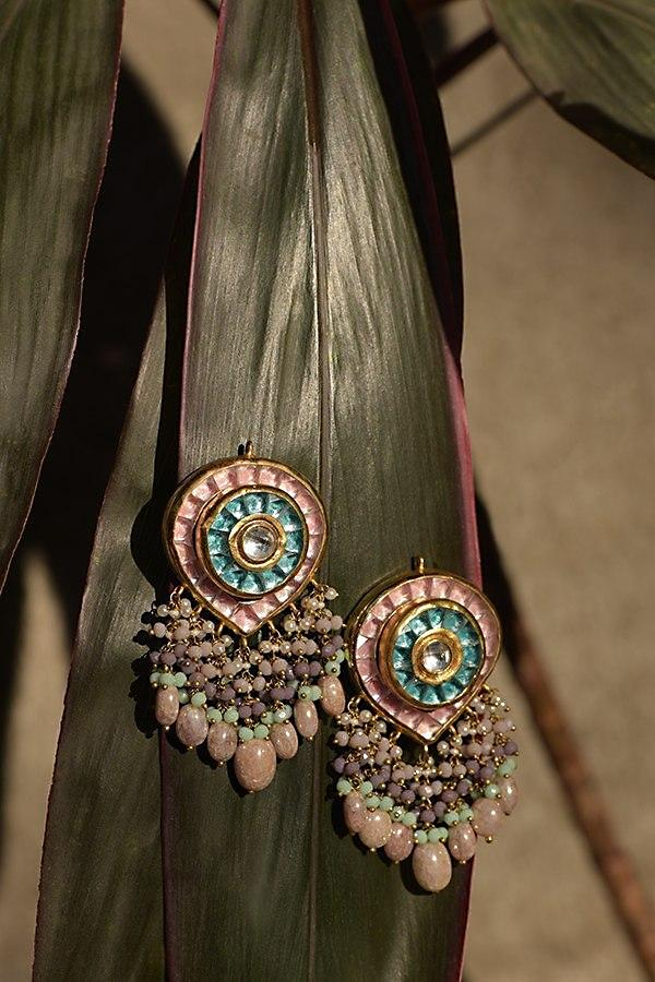Peach And Blue Kundan Earrings In Inverted Drop Pattern With Colorful Bead Fringes Kohar By Kanika