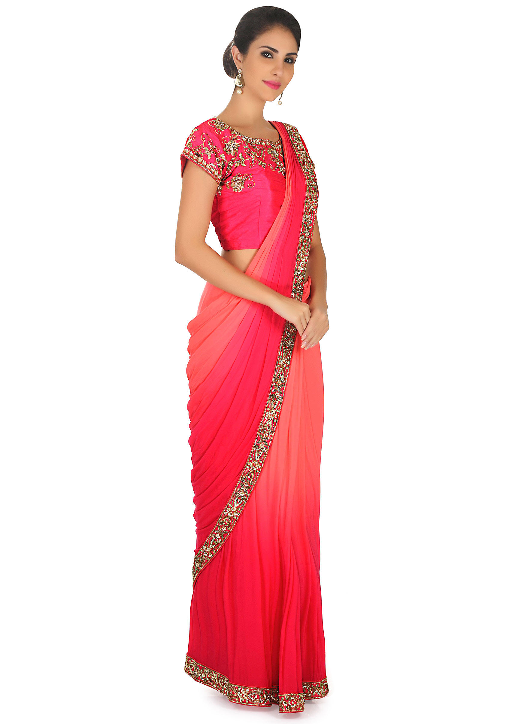 9574db33ea23a Peach and coral pre stitched saree with coral ready embroidered blouse only  on KalkiMore Detail