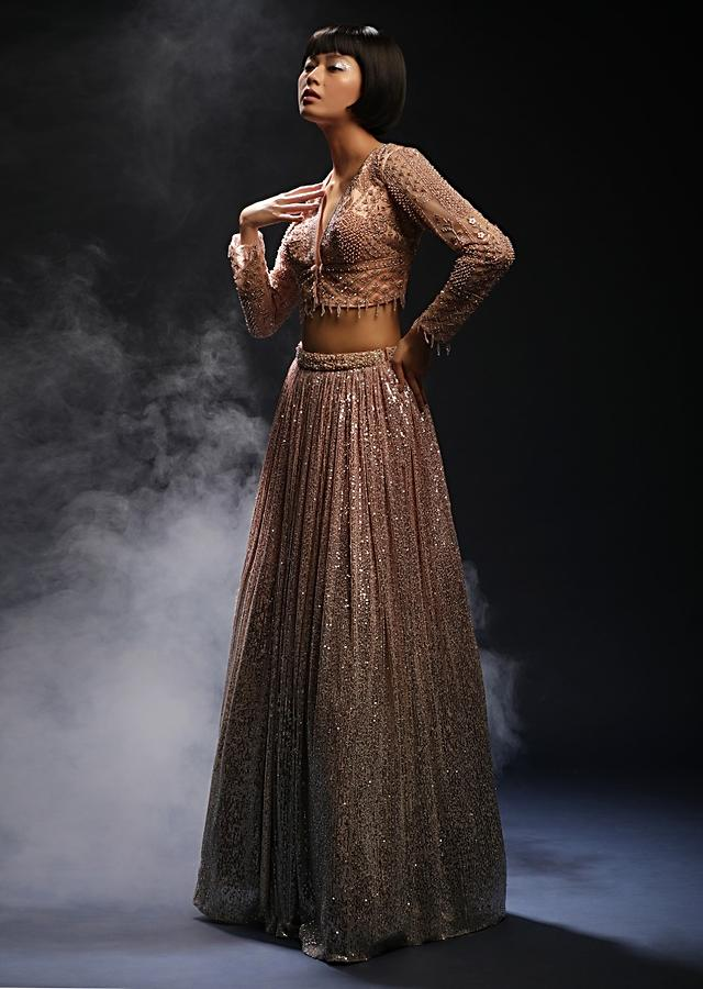Peach And Silver Ombre Lehenga In Sequins Fabric And Hand Embroidered Choli With Plunging V Neckline Online - Kalki Fashion