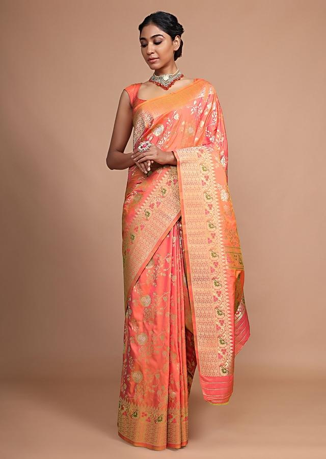 Peach Banarasi Saree In Silk With Weaved Floral Jaal And Colorful Floral Border Online - Kalki Fashion