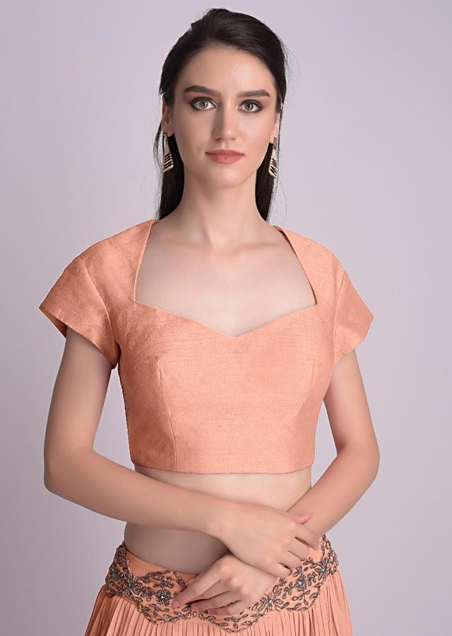 Peach Blouse With Deep Sweet Heart Neck And Cap Sleeves Online - Kalki Fashion
