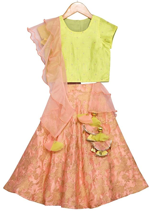 Peach Brocade Lehenga Set With Yellow Crop Top And Ruffle Dupatta Online - Free Sparrow