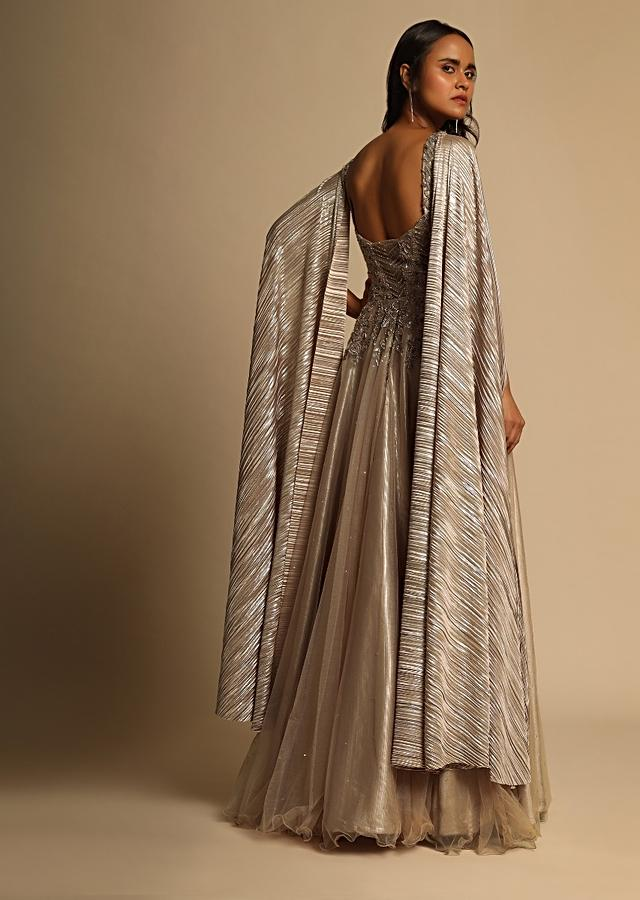 Peach Champagne Gown In Net With Zardosi And Sequins Embroidered Bodice And Shimmer Drape On Both Shoulders Online - Kalki Fashion