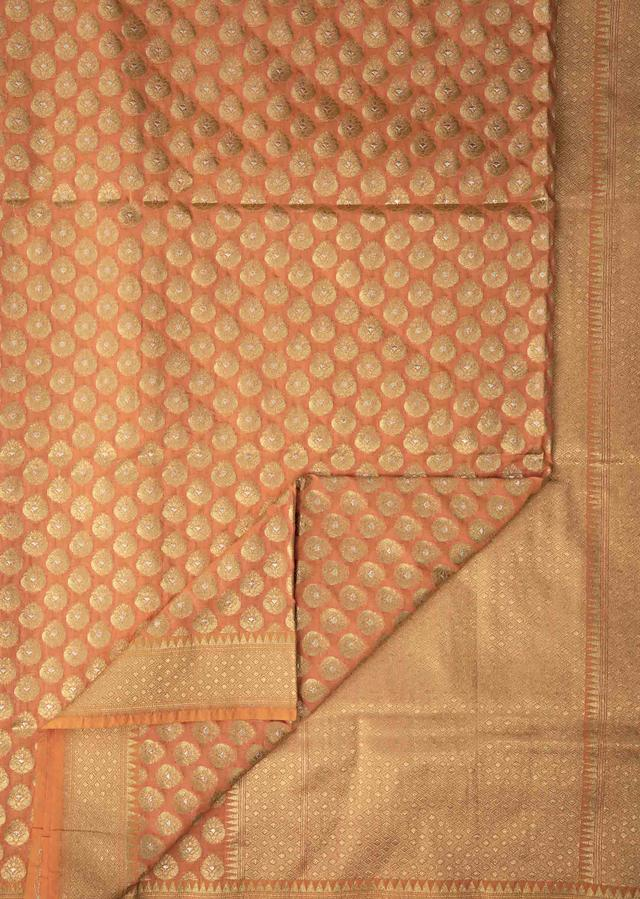 Peach Saree In Chanderi Silk With Weaved Buttis And Geometric Motif On The Pallu And Border Online - Kalki Fashion