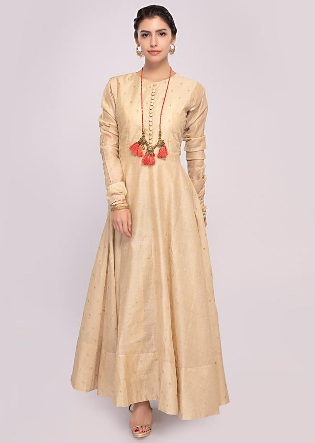 Peach Anarkali Dress In Cotton Paired With Shaded Brocade Dupatta Online - Kalki Fashion