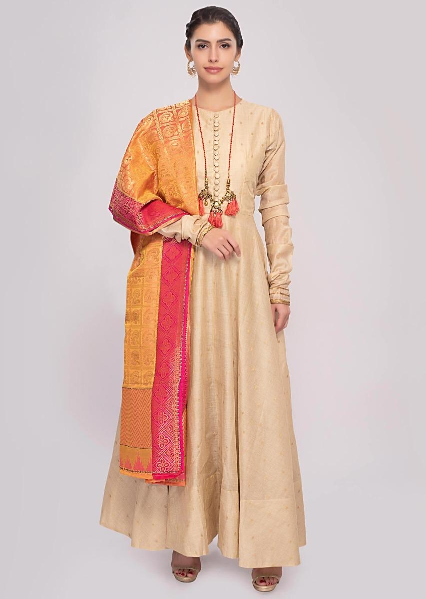 86ae8f181824e Peach cotton anarkali dress paired a with shaded brocade dupatta only on  KalkiMore Detail