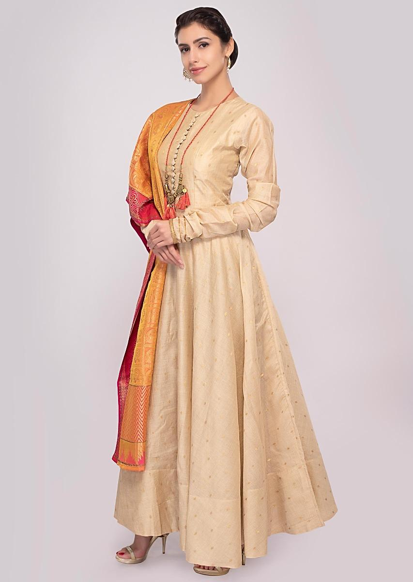 905acf67dbf5f Peach cotton anarkali dress paired a with shaded brocade dupatta only on  Kalki