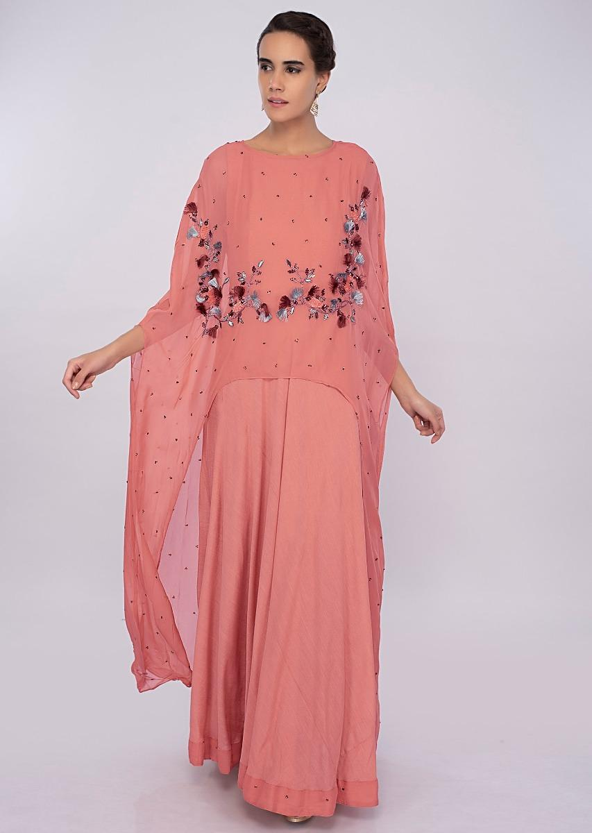 9487315a9be7e1 Peach cotton silk dress with additional front short back long top layer only  on kalkiMore Detail