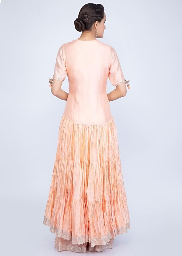 Peach Suit In Embroidered Cotton Silk With Matching Palazzo And Long Jacket With Crushed Layers Online - Kalki Fashion